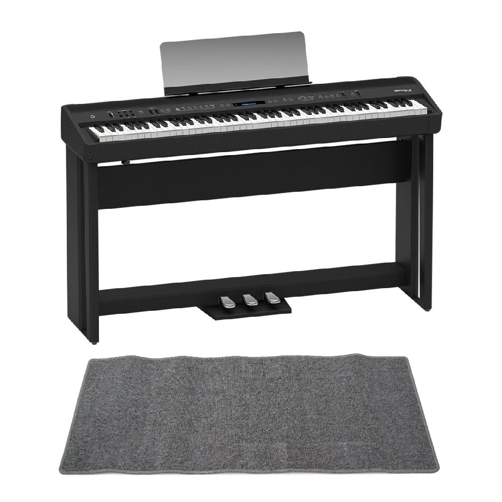 ROLAND FP-90-BK Digital Piano ブラック デジタルピアノ 純正スタンド&ペダルユニット ピアノマット(グレイ)付きセット