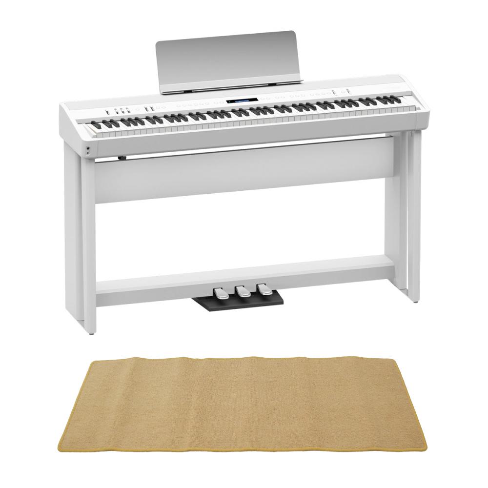 ROLAND FP-90-WH Digital Piano ホワイト デジタルピアノ 純正スタンド&ペダルユニット ピアノマット(クリーム)付きセット