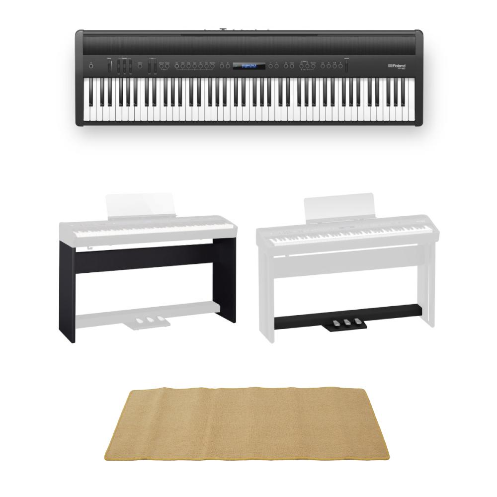 ROLAND FP-60 BK Digital Piano 電子ピアノ 専用スタンド/ペダルユニット ピアノマット(クリーム)付きセット