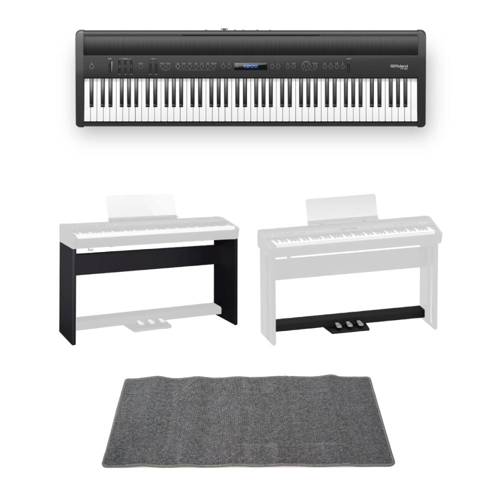 ROLAND FP-60 BK Digital Piano 電子ピアノ 専用スタンド/ペダルユニット ピアノマット(グレイ)付きセット