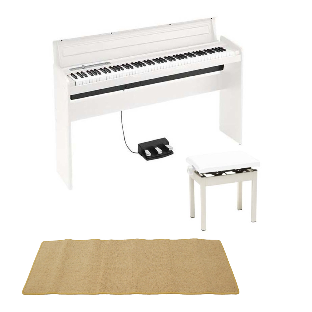 KORG LP-180 WH 電子ピアノ 高低自在椅子付き ピアノマット(クリーム)付きセット