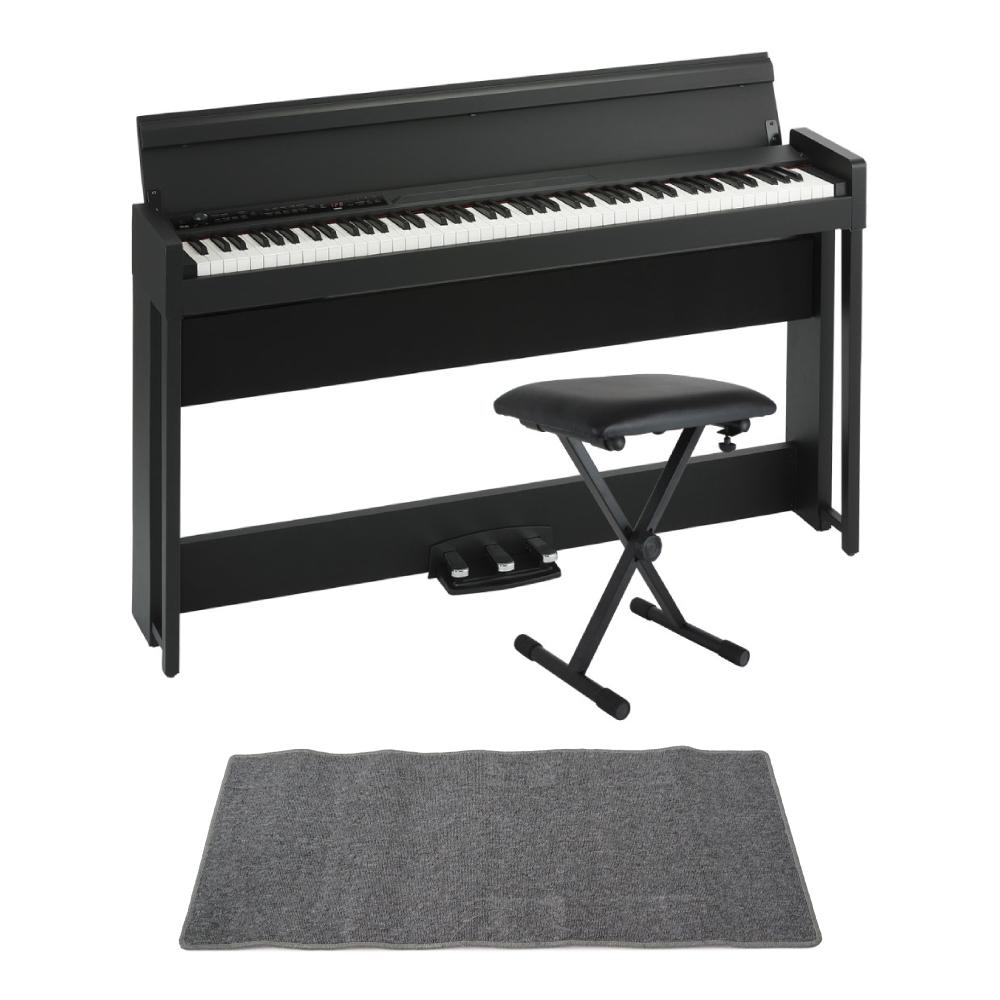 KORG C1 AIR BK 電子ピアノ Dicon Audio SB-001 キーボードベンチ ピアノマット(グレイ)付きセット
