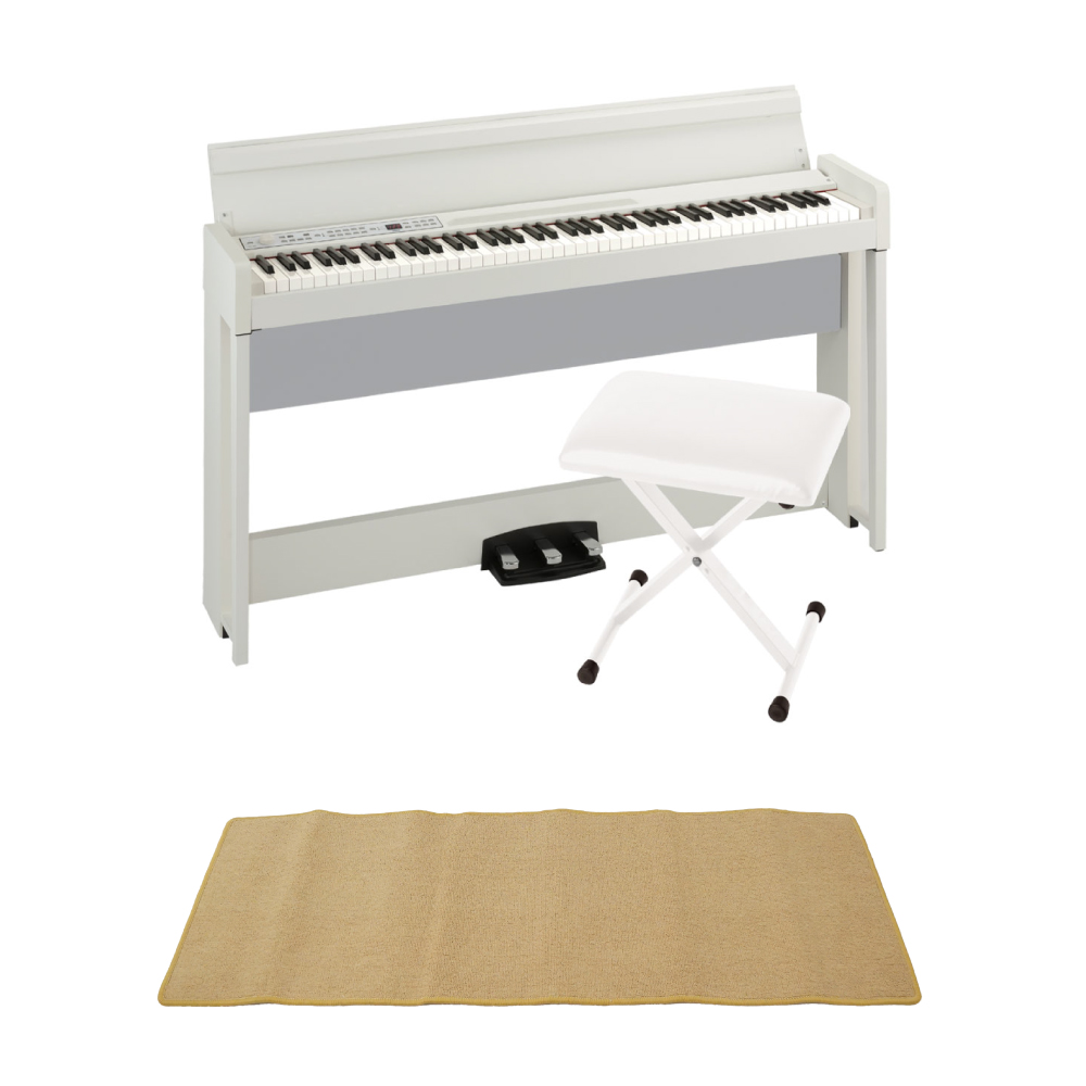 KORG C1 AIR WH 電子ピアノ KORG JS-SB100 WH キーボードベンチ ピアノマット(クリーム)付きセット