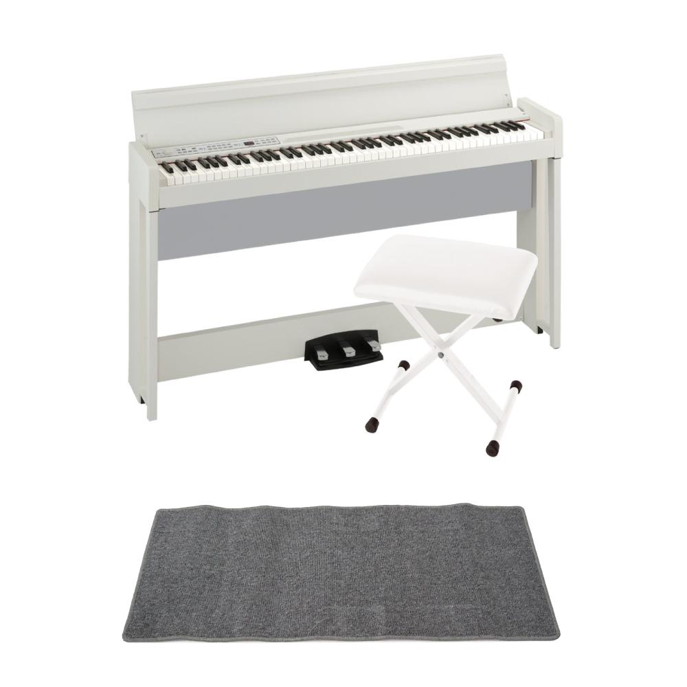 KORG C1 AIR WH 電子ピアノ KORG JS-SB100 WH キーボードベンチ ピアノマット(グレイ)付きセット