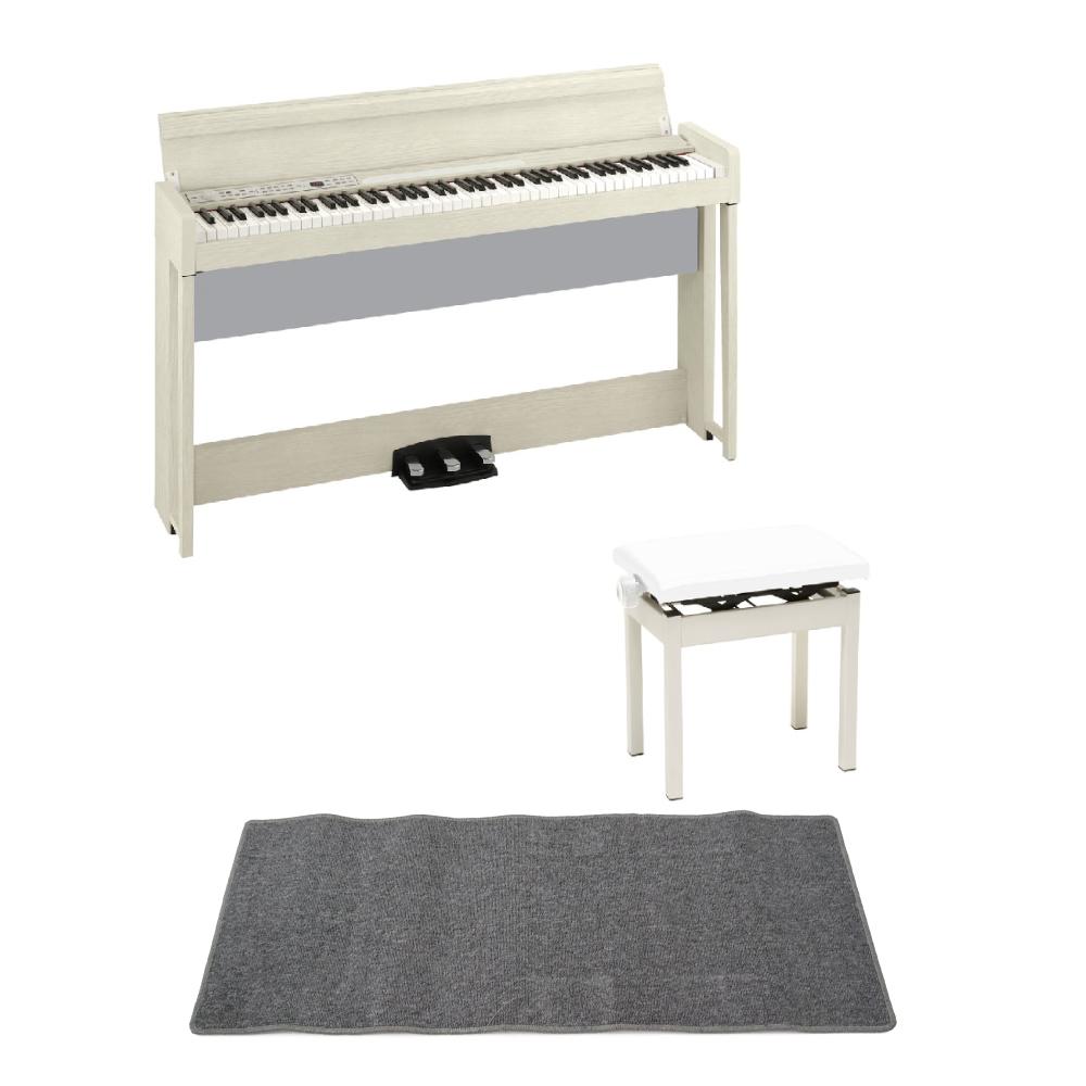 KORG C1 AIR WA 電子ピアノ KORG PC-300WH キーボードベンチ ピアノマット(グレイ)付きセット