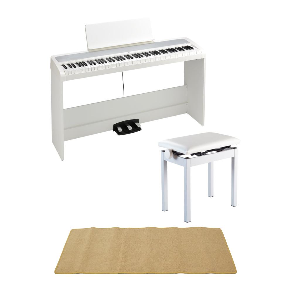KORG B2SP WH 電子ピアノ 純正高低自在イス ピアノマット(クリーム)付きセット