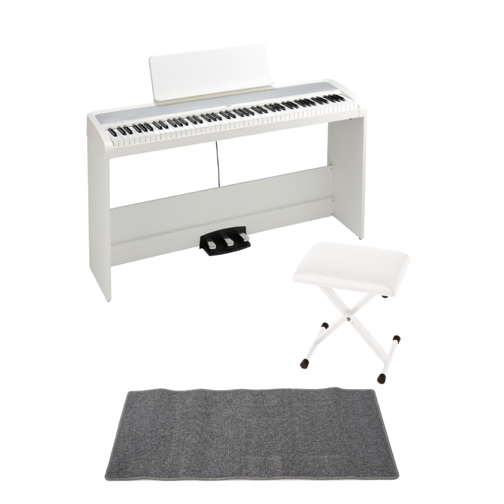 KORG B2SP WH 電子ピアノ X型椅子 ピアノマット(グレイ)付きセット