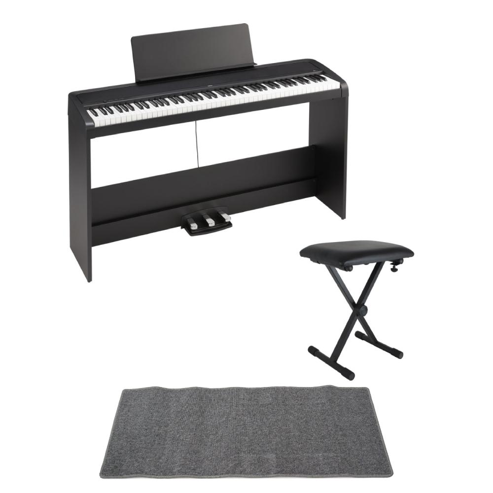 KORG B2SP BK 電子ピアノ X型イス ピアノマット(グレイ)付きセット
