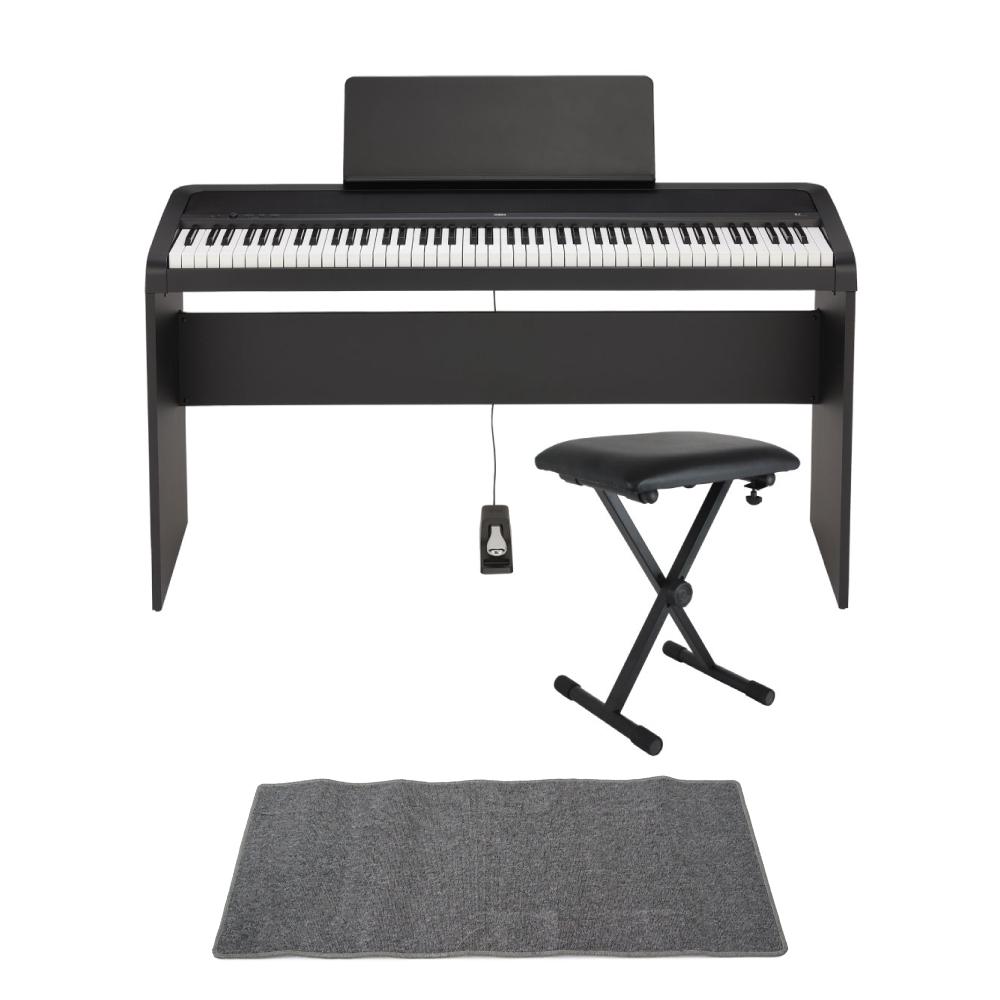 KORG B2 BK 電子ピアノ イス、純正スタンド、マット(グレイ)付きセット