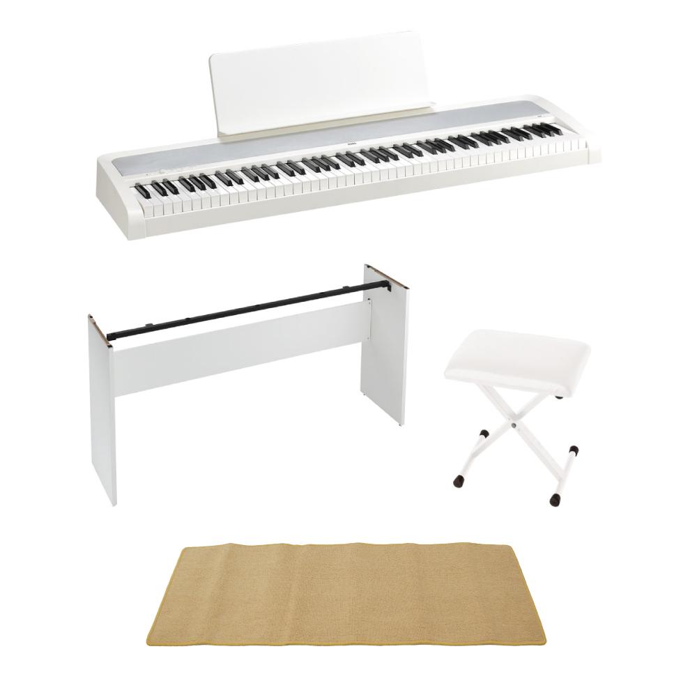 KORG B2 WH 電子ピアノ イス 純正スタンド ピアノマット(クリーム)付きセット