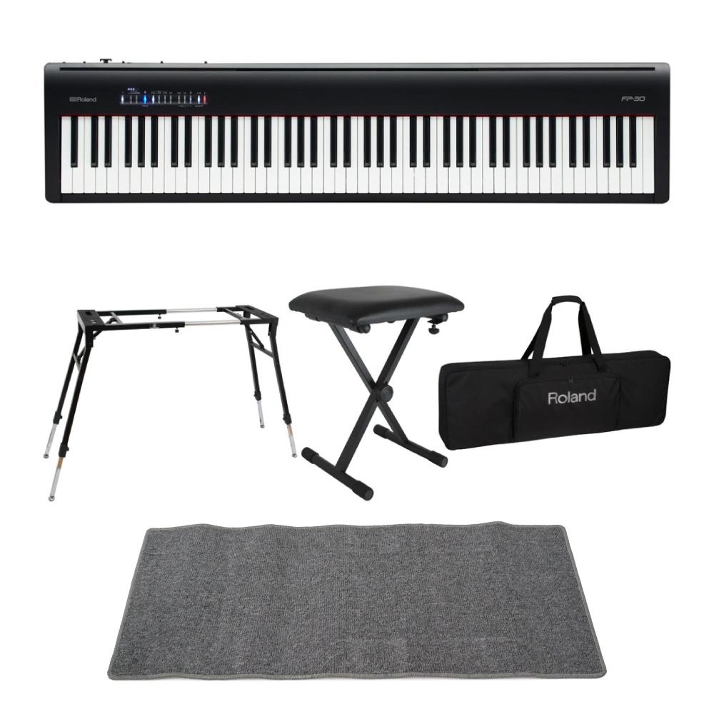 ROLAND FP-30 BK 電子ピアノ Dicon Audio KS-060 スタンド キーボードベンチ キーボードケース ピアノマット(グレイ) 付きセット