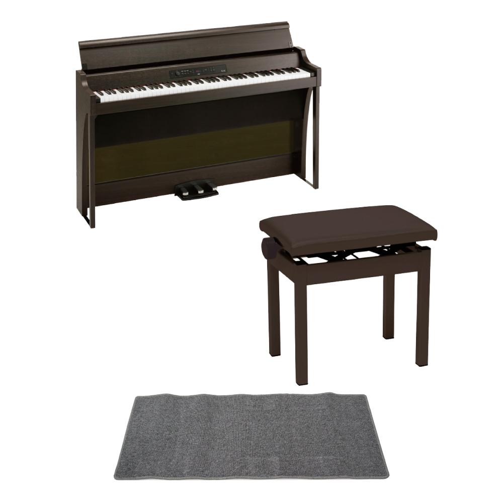 KORG G1B AIR BR 電子ピアノ PC-300 BR キーボードベンチ付き ピアノマット(グレイ)付きセット