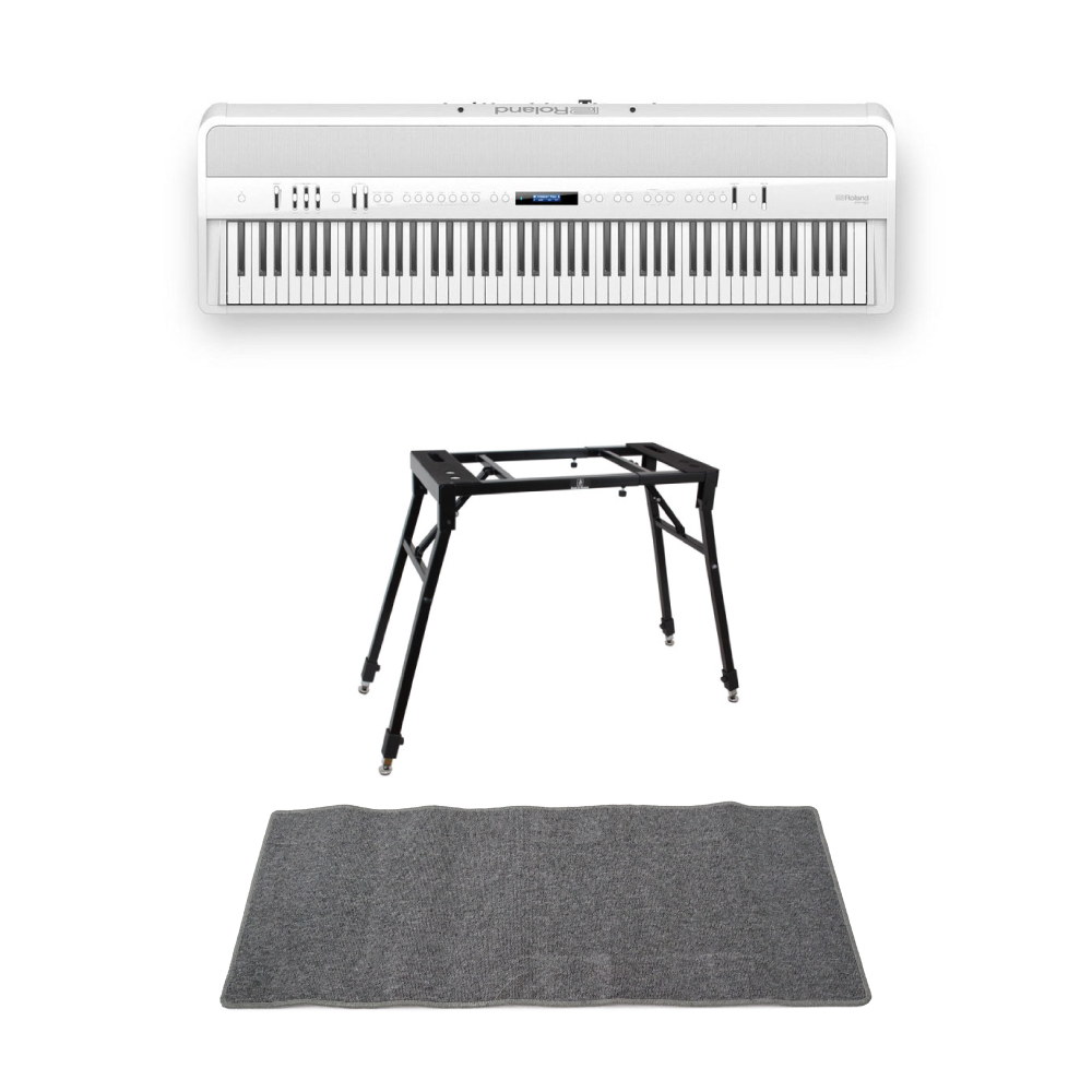 ROLAND FP-90-WH Digital Piano ホワイト デジタルピアノ 4本脚スタンド ピアノマット(グレイ)付きセット