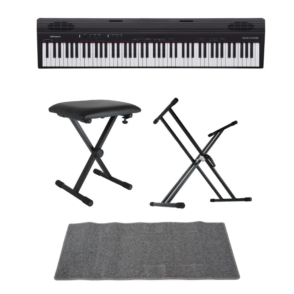 ROLAND GO-88 GO:PIANO88 Entry Keyboard Piano エントリーキーボード ピアノ 88鍵盤 X型スタンド/X型椅子/ピアノマット(グレイ)付きセット