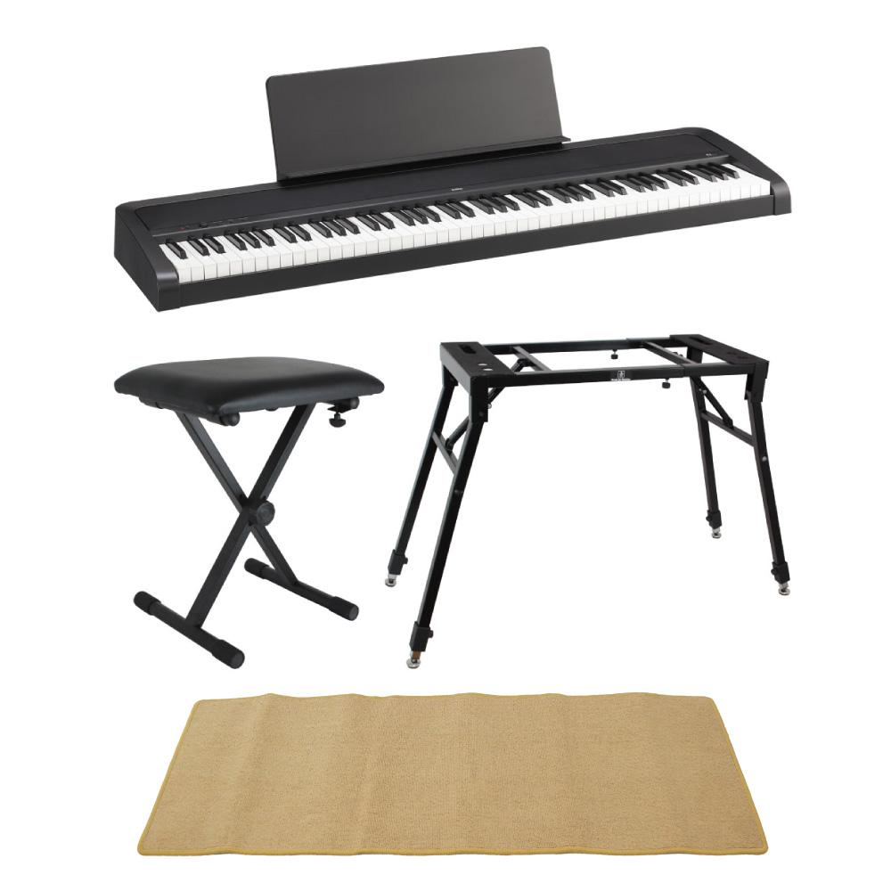 KORG B2 BK 電子ピアノ Dicon Audio 4本脚型 キーボードスタンド ベンチ ピアノマット(クリーム)付きセット