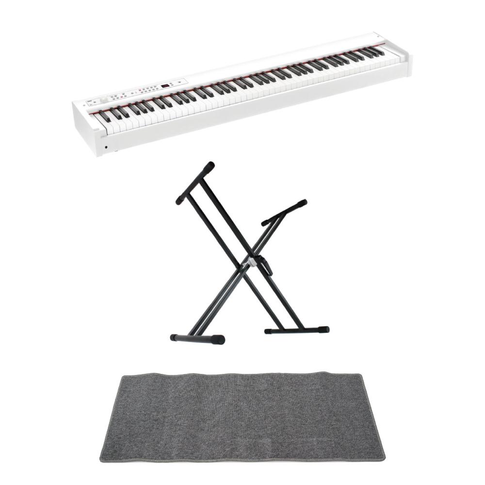 KORG D1 WH DIGITAL PIANO ホワイト 電子ピアノ X型スタンド ピアノマット(グレイ)付きセット