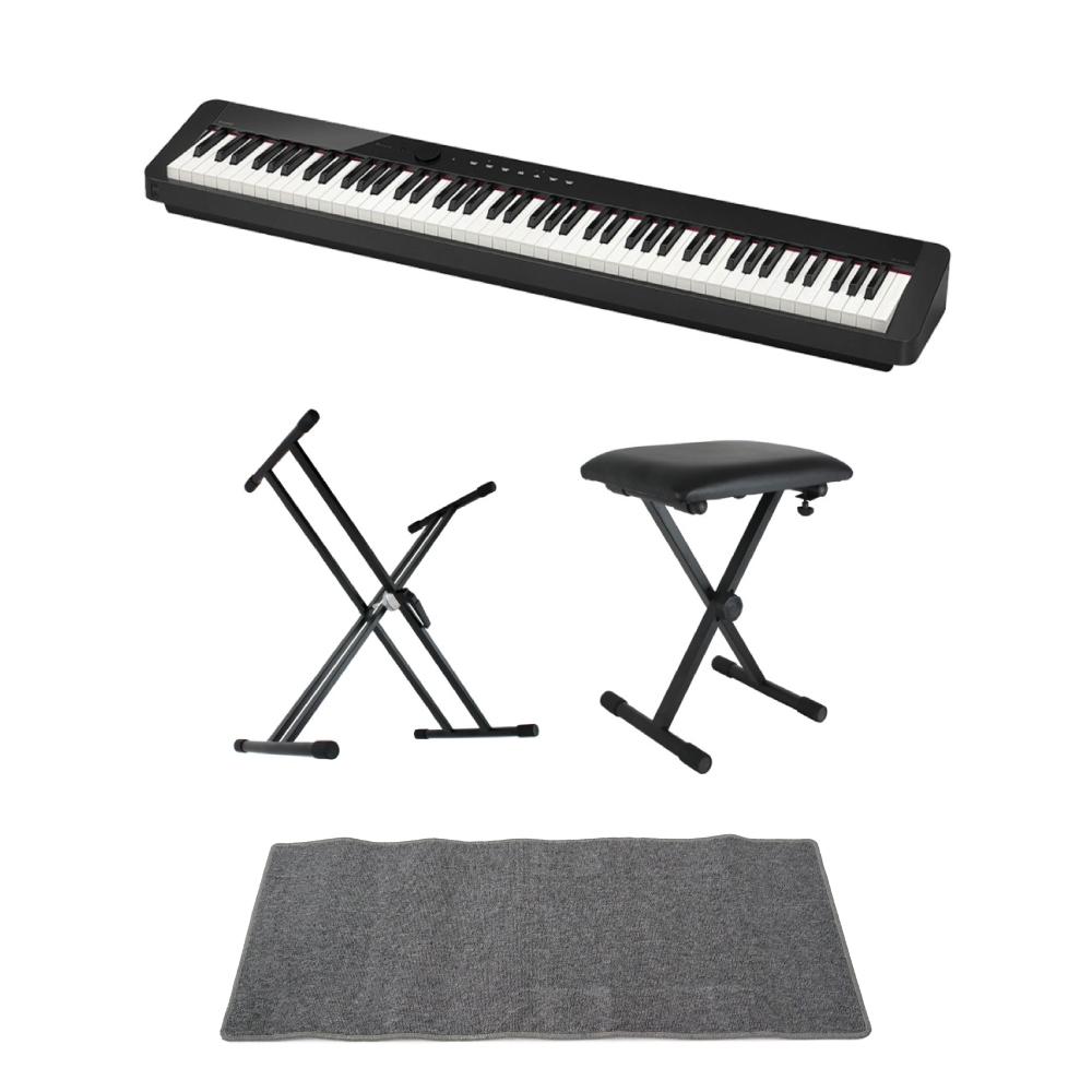 CASIO Privia PX-S1000 BK 電子ピアノ キーボードスタンド キーボードベンチ ピアノマット(グレイ)付きセット