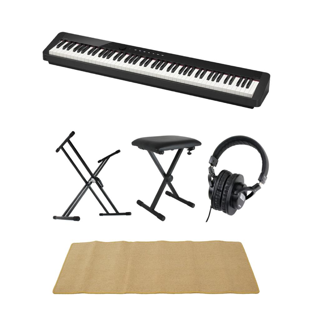 CASIO Privia PX-S1000 BK 電子ピアノ キーボードスタンド キーボードベンチ ヘッドホン ピアノマット(クリーム)付きセット