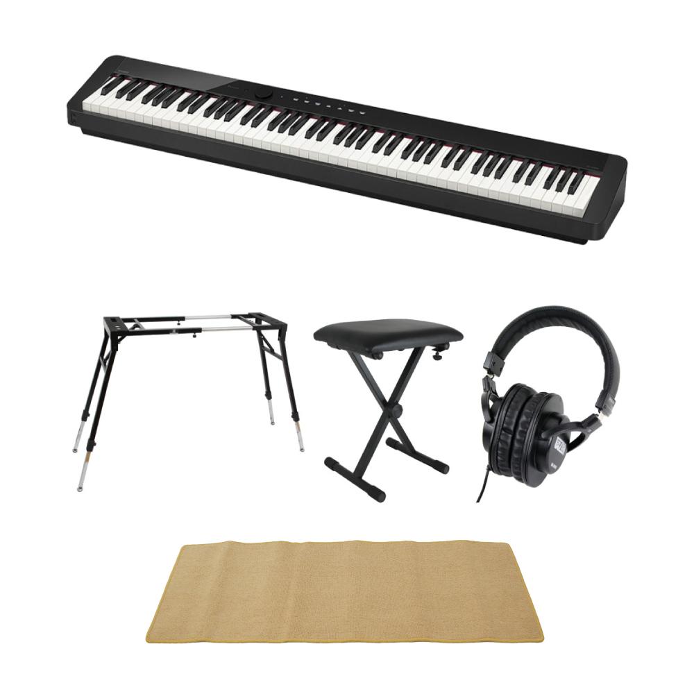 CASIO Privia PX-S1000 BK 電子ピアノ 4本脚型キーボードスタンド キーボードベンチ ヘッドホン ピアノマット(クリーム)付きセット