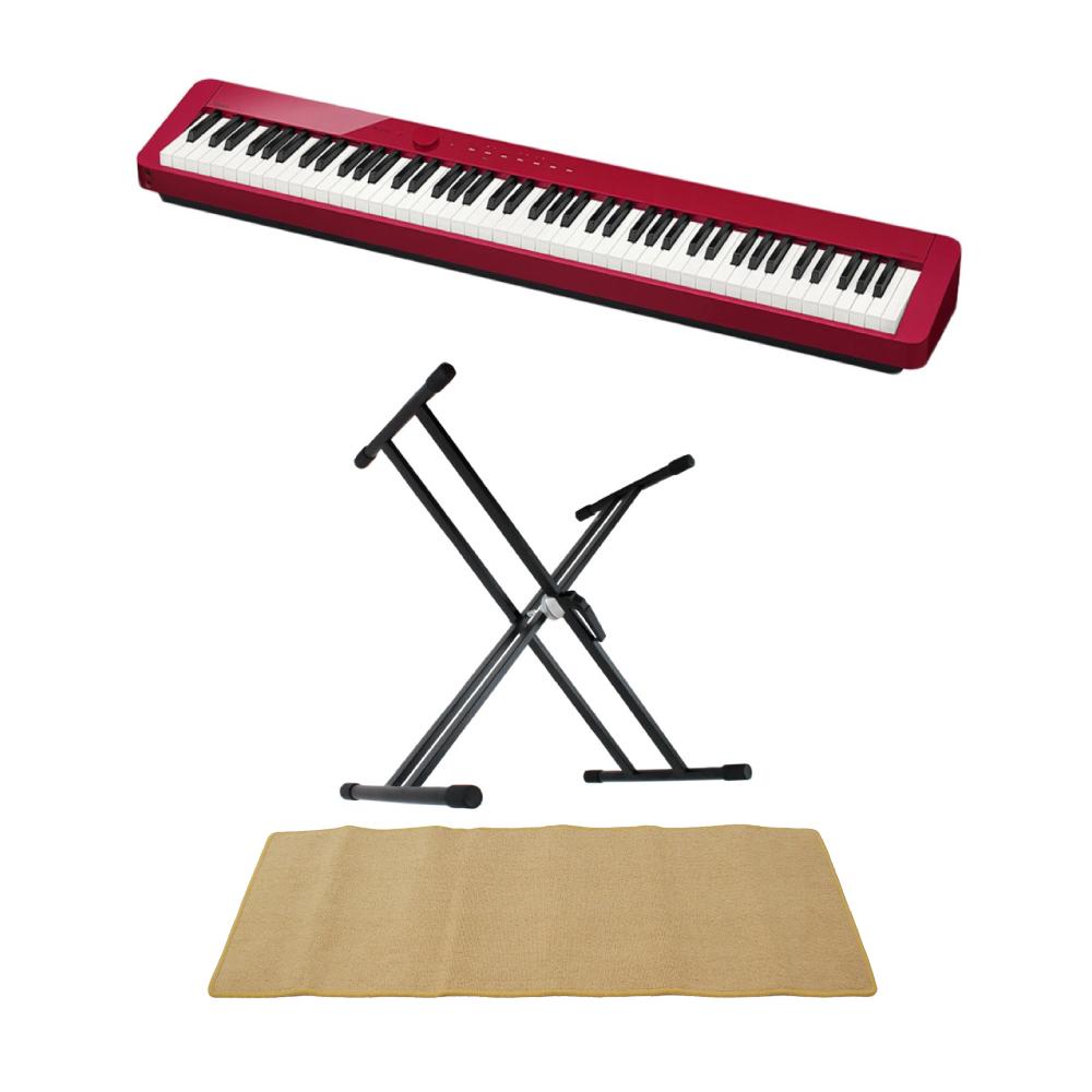CASIO Privia PX-S1000 RED 電子ピアノ キーボードスタンド ピアノマット(クリーム)付きセット