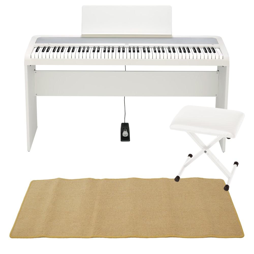 KORG B2 WH 電子ピアノ イス 純正スタンド ピアノマット(クリーム)付 きセット