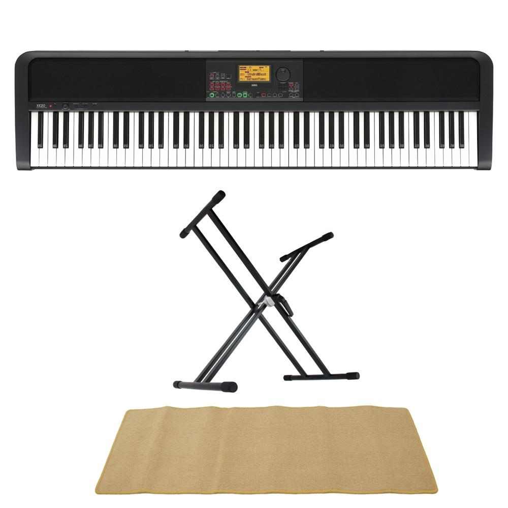 コルグ 電子ピアノ スタンド マット付 価格 KORG XE20 DIGITAL ENSEMBLE 自動伴奏機能付き 3点セット AMset PIANO マット 88鍵盤 鍵盤 2020新作