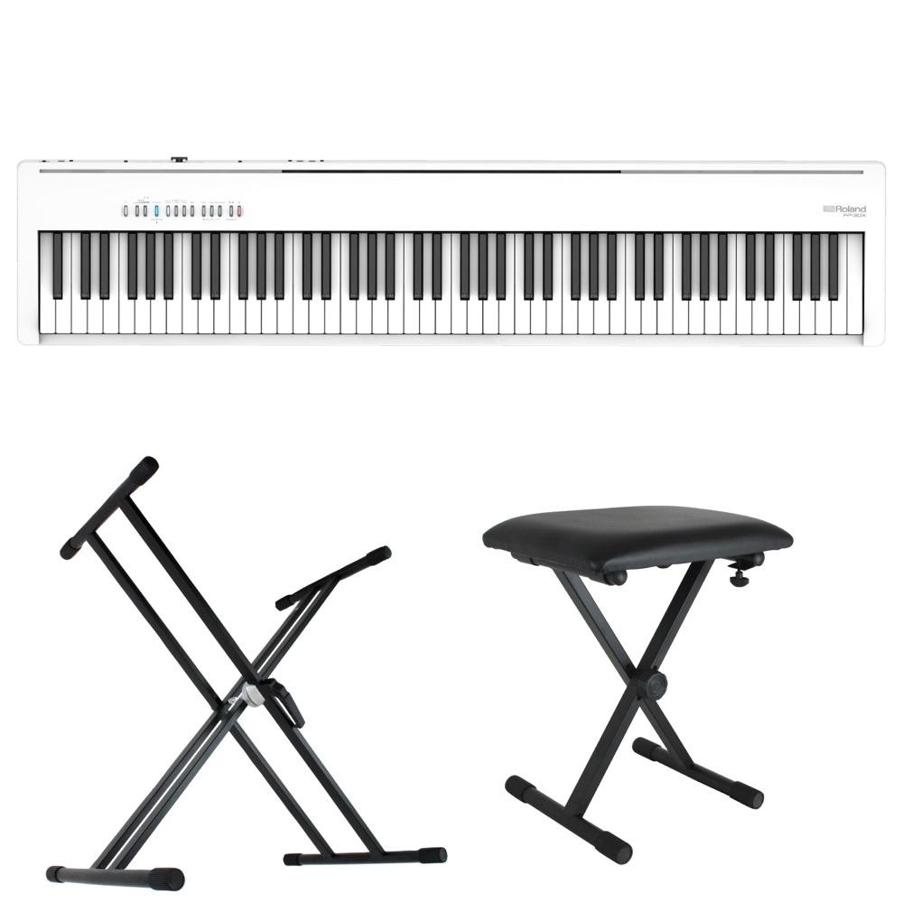 ROLAND FP-30X-WH Digital Piano ホワイト 電子ピアノ キーボードスタンド キーボードベンチ 3点セット [鍵盤 Bset]
