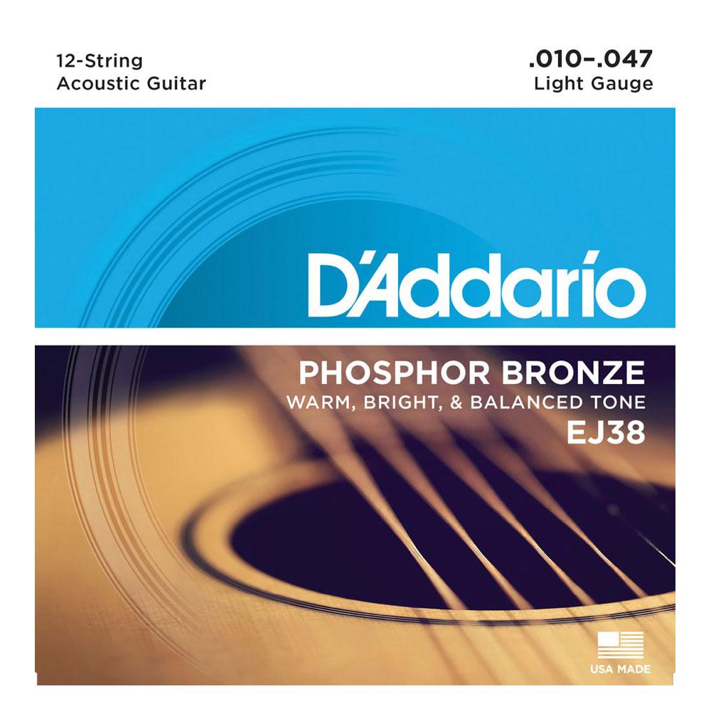 D'Addario EJ38/Light 12-String 12弦用アコースティックギター弦×5セット