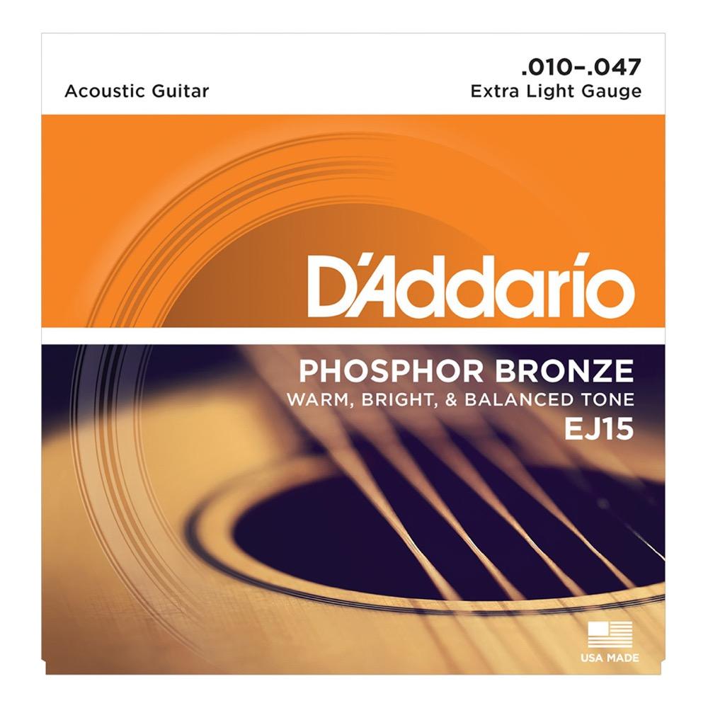 D'Addario EJ15 Phosphor Bronze Extra Light アコースティックギター弦×10セット