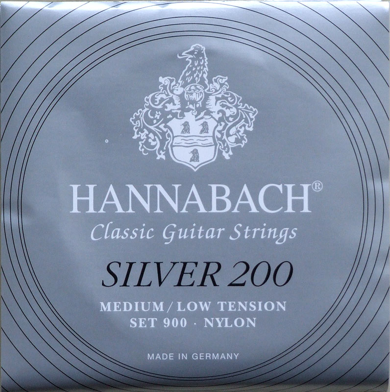 HANNABACH Silver 200 MEDIUM/LOW TENSION クラシックギター弦×6セット