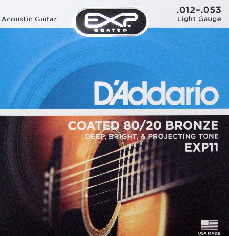 D'Addario EXP11 Coated 80/20 Bronze Light×10SET アコースティックギター弦