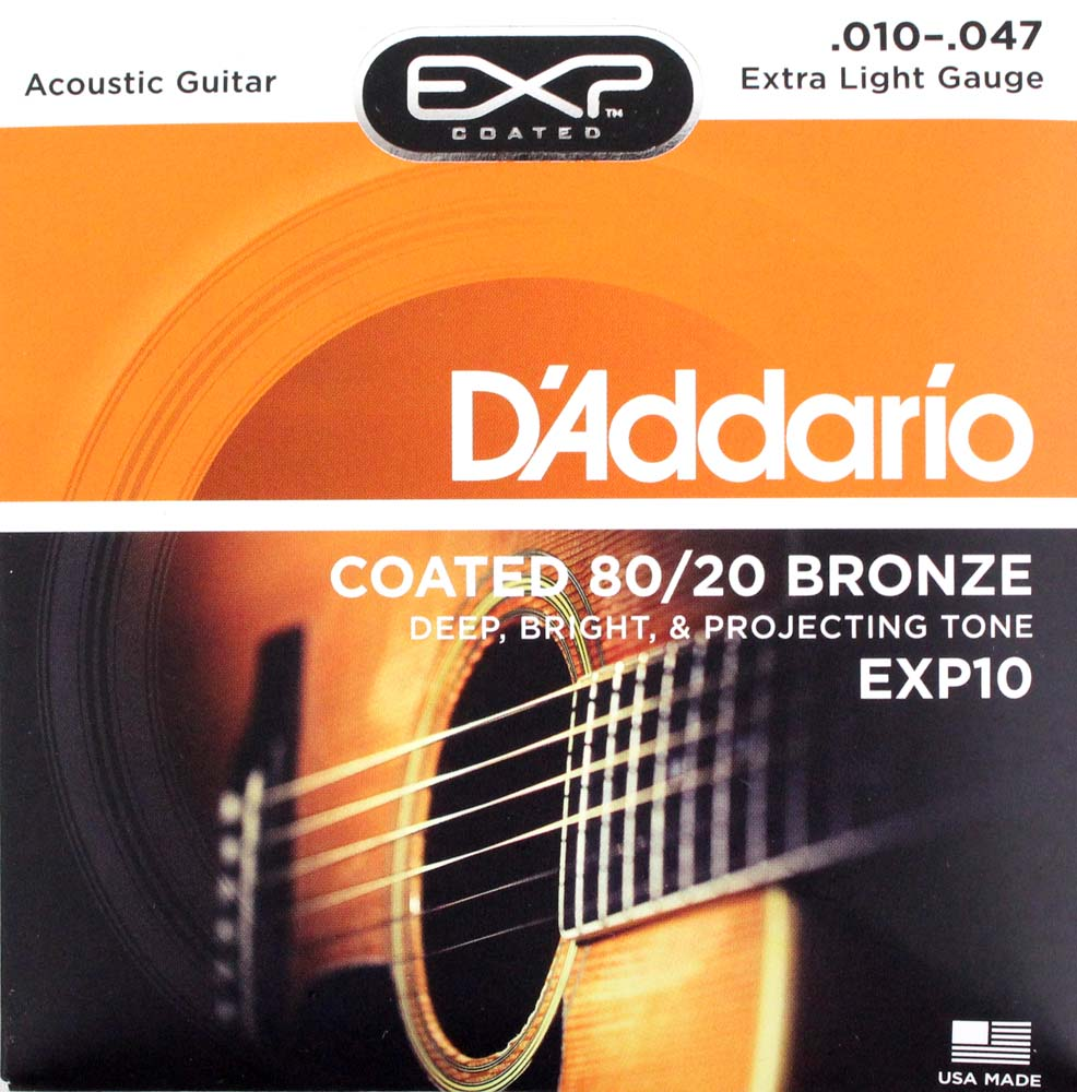 D'Addario EXP10 Coated 80/20 Bronze Extra Light×10SET アコースティックギター弦