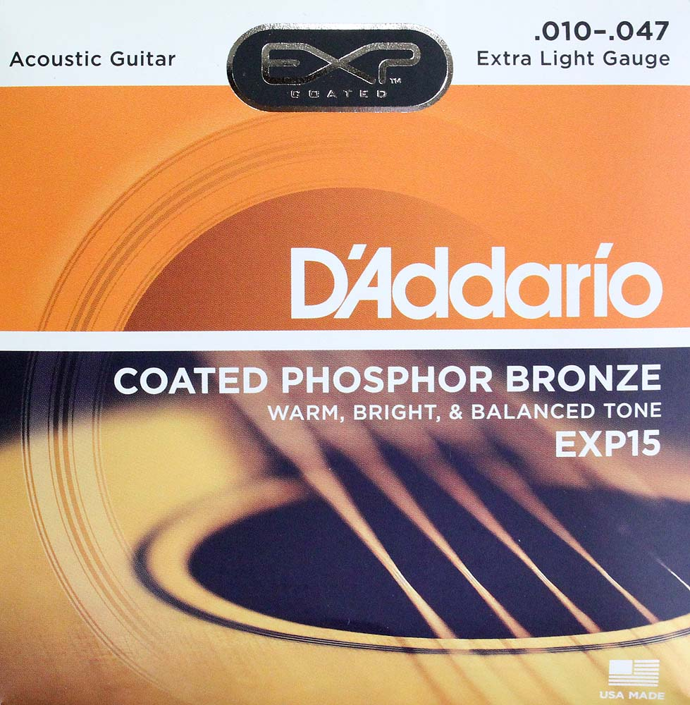 D'Addario EXP15 Coated Phosphor Bronze Extra Light×10SET アコースティックギター弦
