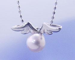 6月誕生石ネックレス パール(真珠)ネックレス ペンダント 天使の贈り物♪真珠(パール)【K18ホワイトゴールド(K18WG)】国産 日本製/製造オーダー品 約20日間納期【コンビニ受取対応商品】