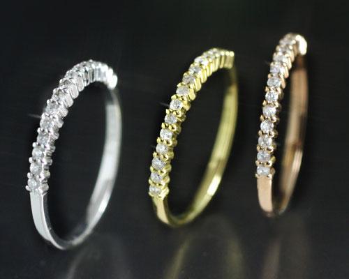 4月誕生石 ダイヤモンド 0.15ct ハーフエタニティ リング(指輪)「メルヴェイユ・ブリエ」【K18PG/YG/WG】 国産 日本製/製造オーダー品 約20日間納期【コンビニ受取対応商品】