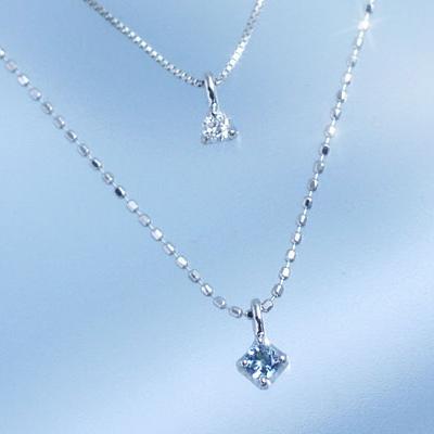 3月誕生石ネックレス アクアマリン ダイヤモンド 2連ネックレス 「エクラデコール」【K10ホワイトゴールド(K10WG)】国産 日本製/製造オーダー品 約20日間納期【コンビニ受取対応商品】