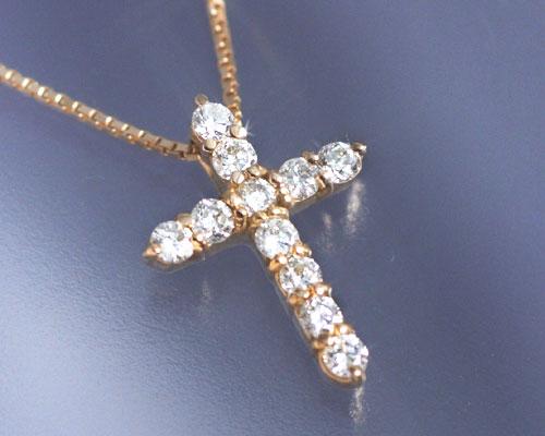 4月誕生石ネックレス ダイヤモンド0.2ct クロス ネックレス ペンダント【K18ピンクゴールド(K18PG)】【送料無料】国産 日本製/製造オーダー品 約30日間納期【コンビニ受取対応商品】