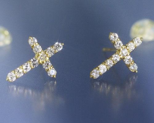 4月誕生石 ダイヤモンド0.3ct クロス スタッド ピアス【K18イエローゴールド(K18YG)】【送料無料】国産 日本製/製造オーダー品 約30日間納期【コンビニ受取対応商品】