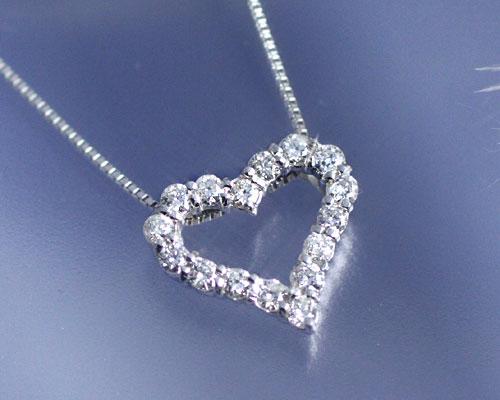 4月誕生石ネックレス K18WG ダイヤモンド0.3ct オープンハート ネックレス【送料無料】国産 日本製/製造オーダー品 約20日間納期【コンビニ受取対応商品】