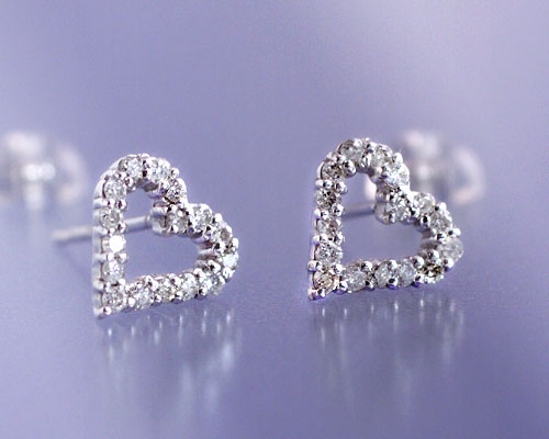 April Birth Stone Diamond 0 2 Ct Open Heart Stud Earrings Made In An Manufacturing Order Domestic About 20 Days Delivery