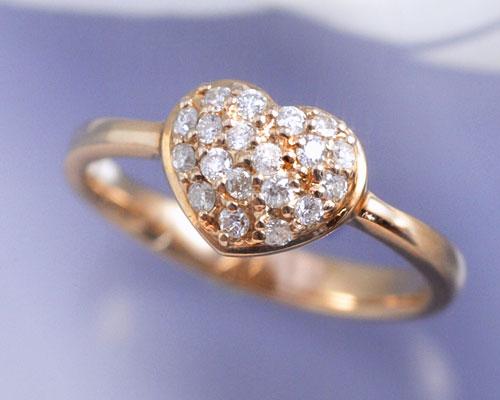 4月誕生石 ダイヤモンド 0.2ct パヴェ ハート リング(指輪)【K18ピンクゴールド(K18PG)】【送料無料】 国産 日本製/製造オーダー品 約20日間納期【コンビニ受取対応商品】