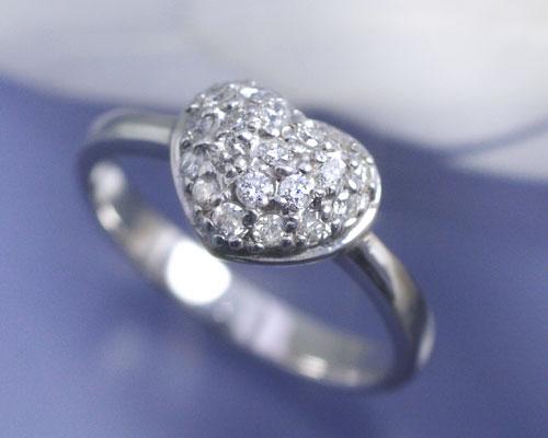 b3613529d8cd 4月誕生石 ダイヤモンド 0.3ct パヴェ ハート リング(指輪)【K18ホワイトゴールド