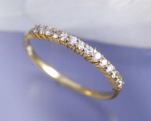 4月誕生石 ダイヤモンド 0.2ct Iライン リング(指輪)【K18イエローゴールド(K18YG)】【送料無料】 国産 日本製/製造オーダー品 約20日間納期【コンビニ受取対応商品】