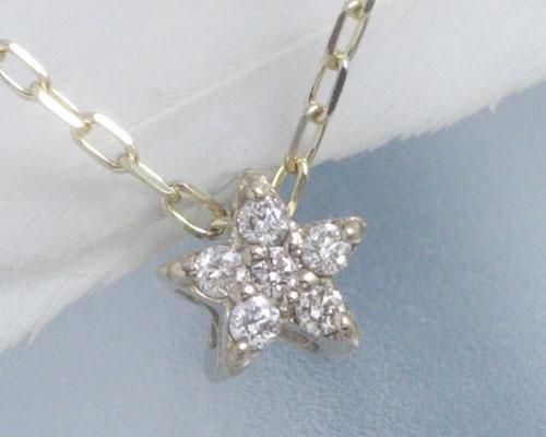 4月誕生石ネックレス ダイヤモンド0.05ct スター(星)ネックレス ペンダント【K18シャンパンゴールド】「シャン・ルミエール」国産 日本製/製造オーダー品 約20日間納期【コンビニ受取対応商品】
