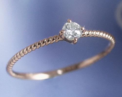 4月誕生石 ダイヤモンド 0.1ct リング(指輪)「フェミナリエ」【K10ピンクゴールド(K10PG)】 国産 日本製/製造オーダー品 約20日間納期【コンビニ受取対応商品】