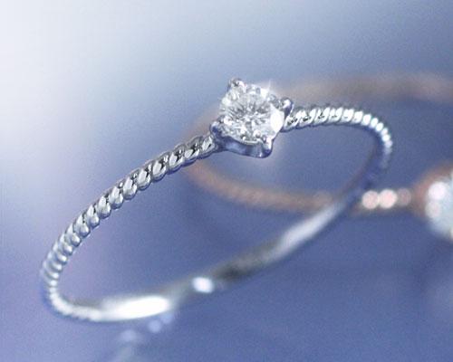 4月誕生石 ダイヤモンド 0.1ct リング(指輪)「フェミナリエ」【K10ホワイトゴールド(K10WG)】 国産 日本製/製造オーダー品 約20日間納期【コンビニ受取対応商品】