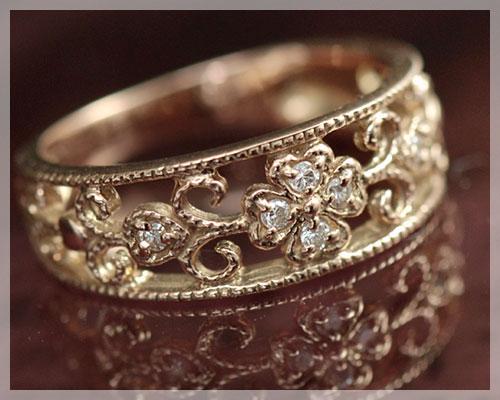 ピンキーリング 18k ピンクゴールド 4月誕生石 ダイヤモンド 0.05ct リング(指輪)アラベスク&クローバー 【4号のみ あす楽対応】 レディース 18金 K18PG 3~13号対応 送料無料 クリスマスプレゼント 彼女 妻 嫁 女性