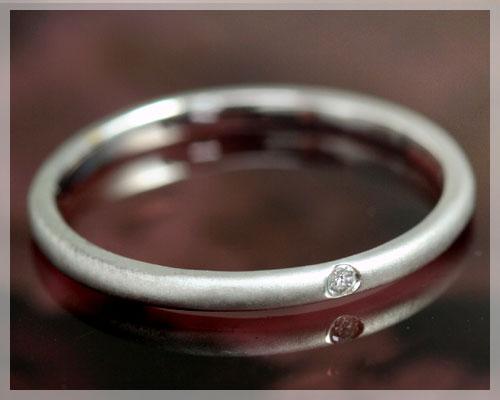 4月誕生石 ダイヤモンド 0.01ct リング(指輪)【K18ホワイトゴールド(K18WG)】(マット仕上げ)【7~13号対応】 国産 日本製/製造オーダー品 約20日間納期【コンビニ受取対応商品】