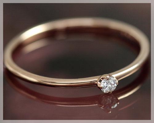4月誕生石 ダイヤモンド 0.03ct リング(指輪)【K18ピンクゴールド(K18PG)】【7~13号対応】 国産 日本製/製造オーダー品 約20日間納期【コンビニ受取対応商品】