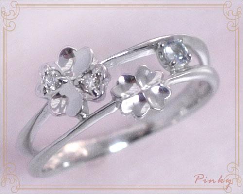 ピンキーリング 3月誕生石 アクアマリン ダイヤモンド K10ホワイトゴールド K10WG 指輪 重ねづけ風 2連 リングサイズ マイナス号数対応 0号 1号 2号 3号 4号 5号 6号から9号「ピュア・クローバー」/製造オーダー品 約20日間納期
